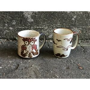 Other - Quirky Pottery Bird Mugs: Pair